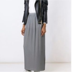 THEORY pleated maxi skirt petite grey accordion P
